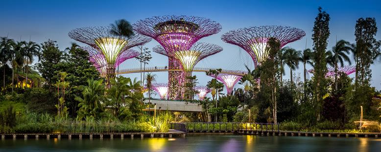 Akşam Işıklarıyla Körfez Bahçeleri - Singapur
