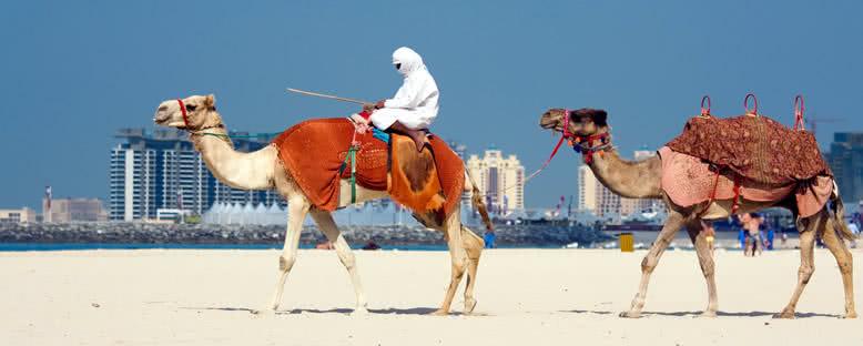 Jumeirah Plajı ve Deve Sürücüsü - Dubai