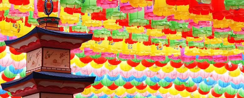 Jogyesa Tapınağı'nda Renkli Fenerler - Seul
