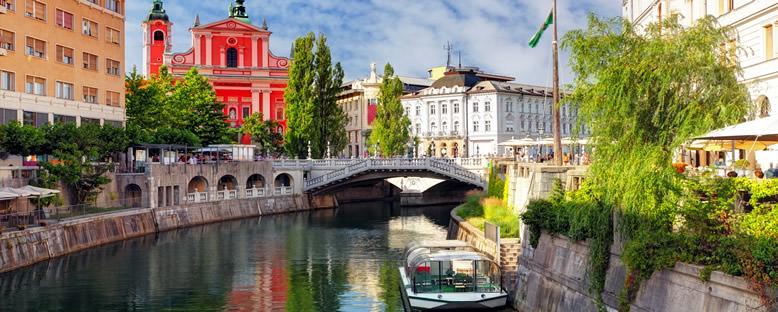 Nehir ve Kilise Manzarası - Ljubljana