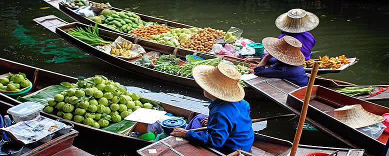 Yüzen Pazar ve Satıcılar - Bangkok